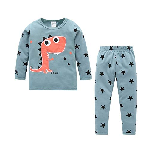 BOBORA Ensembles de Pyjama Bébé Enfants, Vêtements Dinosaures à Manches Longues en Coton pour Filles Garçons 1-6Ans