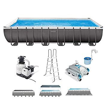 Intex 26363EH Ultra XTR 24ft x 12ft x 52in Frame Above Ground Rectangular Swimming Pool with Pump and Automatic Vacuum Cleaner with a 1.5-Inch Fitting