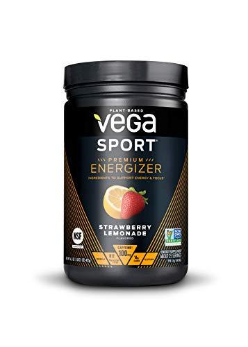 Vega Sport Energizer, Straweberry Lemonade, Pre Workout Powder for Women and Men, Supports Energy and Focus, Electrolytes, Vegan, Keto, Gluten Free, Dairy Free, Non GMO (25 Servings)