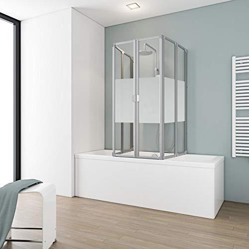 Schulte Duschabtrennung faltbar für Badewanne 70-80 cm, einfacher Aufbau, 3 mm Sicherheitsglas Dekor Dezent, alunatur, langlebig, D1700 01 100