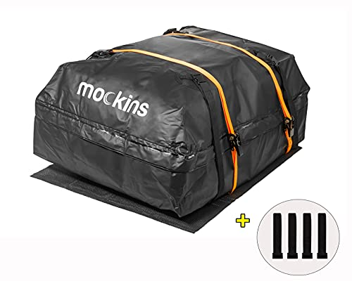 Mockins Waterproof Cargo Roof Bag Set with Protective Car Roof Mat and 2 Ratchet Straps   44' X 34'...