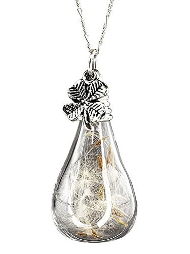 Kette mit Pusteblumen Kleeblatt Anhänger - 925 Sterling Silber - Naturschmuck - 70cm Halskette