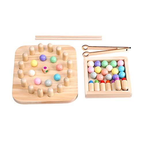 QUUY Montessori - Juego de mesa de madera con clip, juego educativo de madera, color de reconocimiento, juguete para niños, manos y cerebro, entrenamiento para niños