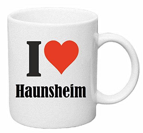Reifen-Markt Kaffeetasse I Love Haunsheim Keramik Höhe 9,5cm ⌀ 8cm in Weiß