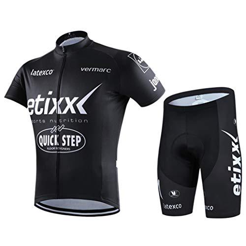 LINLIN Hombres Ciclismo Conjunto de Manga Corta de la Bicicleta Conjunto de Secado rápido Transpirable Camisa 3D Shorts Cushion Pantalones Acolchados/Babero Corto,Black-XXL