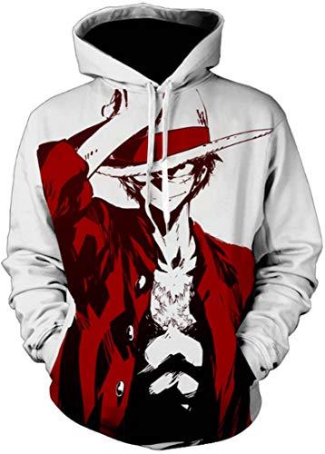 bettydom Men's Novelty 3D Hoodies Japanese Anime One Piece Sweatshirt Luffy(4XL,A Luffy Freedom-1)