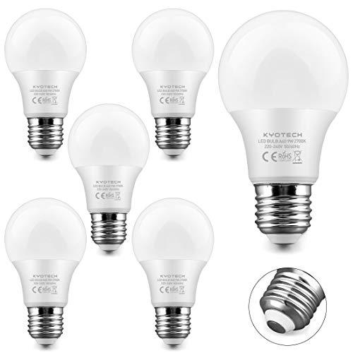 KYOTECH Lampadina LED E27 9W Equivalenti a 75W Luce Bianca Calda 2700K 780LM 220° Angolo a fascio,Forma A60 lampadina a LED a risparmio energetico Usato per Lampade da tavolo Plafoniera Pacco da 6