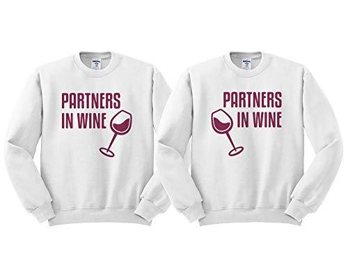 Partners in Wine Matching Duo Sweatshirt Men's/Unisex White