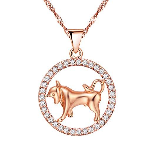 Uloveido 12 Zodiac Taurus Constellation Bull Tierform Halskette mit Rose Gold plattiert Zirkonia Anhänger Schmuck Halskette für Geburtstag Taurus Schmuck N1047