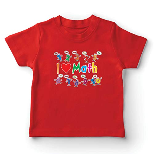 lepni.me Camiseta para Niño/Niña Amo Las matemáticas, el Regalo Educativo de Regreso a la Escuela o la graduación (5-6 Years Rojo Multicolor)