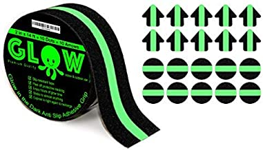 Anti-Slip Glow in The Dark Grip Tape - Non-Slip Adhesive Grip for Slippery Suerfaces, Stairs, Rails, Steps, Gaffers, Tread, Traction - Bonus 10 Dots and 10 Stars - 2 Inches Wide by 14 Feet Long - Ind