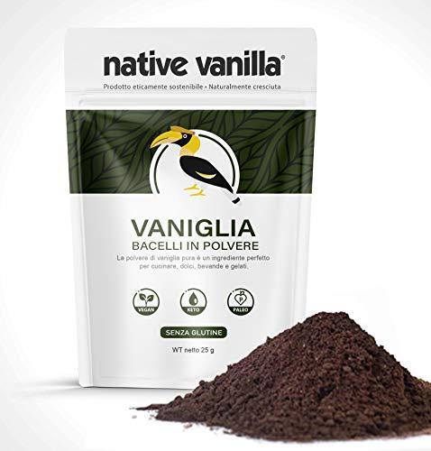 Baccelli di vaniglia grezzi in polvere (25 g) - senza zuccheri aggiunti - per caffè, dolci, gelato