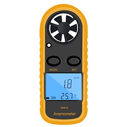 Lorsoul GM816 Digital-Anemometer-Windgeschwindigkeits-Lehren-Messinstrument, LCD Hand Airflow Windmesser Thermometer, OHNE Batterris