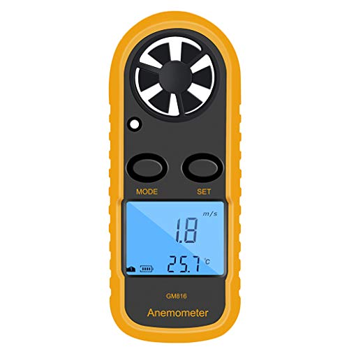 Lorsoul GM816 Digital-Anemometer-Windgeschwindigkeits-Lehren-Messinstrument, LCD Hand Airflow Windmesser Thermometer, OHNE Batterris