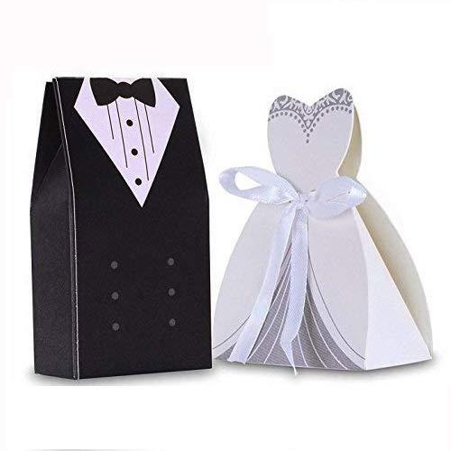 Cisixin 100 pcs Boîte à Dragées Bonbonnières pour Décoration de Mariage - 50 mariées / 50 mariés Style
