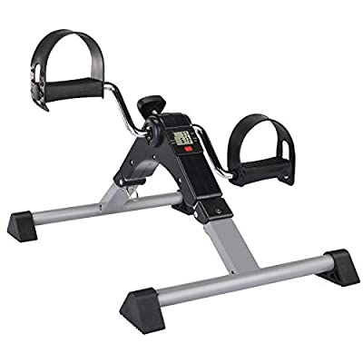 CEWINO Folding Pedal Exerciser?Mini Exercise Bike?Portable Foot Peddler Desk Bike for Physical Therapy Leg and Arm Exercisers?Adjustable Sitting Pedal Exerciser for Elderly Men Women