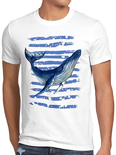 style3 Ballena Azul Camiseta para Hombre T-Shirt Buceo el mar rorcual, Talla:XL
