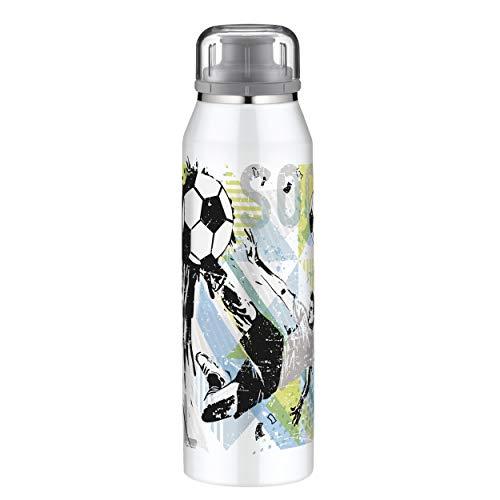 alfi Kindertrinkflasche für Kinder 500ml, isoBottle Fussball, Thermosflasche, Edelstahl Isolierflasche dicht, Wasserflasche 5677.204.050, Thermoskanne 12 Stunden heiß, 24 Stunden kalt, BPA Frei