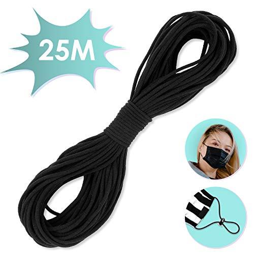VPCOK 25 Meter Gummiband rund, elastische Gummikordel, DIY Seil, Gummilitze Gummizug zum Nähen von DIY schmuck Kleidung Nähzubehör Handwerk, Schwarze (MEHRWEG)