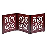 Home District Freestanding Pet Gate, Solid Wood 3-Panel Tri-Fold Folding Dog Gate Dog Fence for Doorways Stairs Decorative Pet Barrier - Mahogany Scroll Design, 47' x 19'