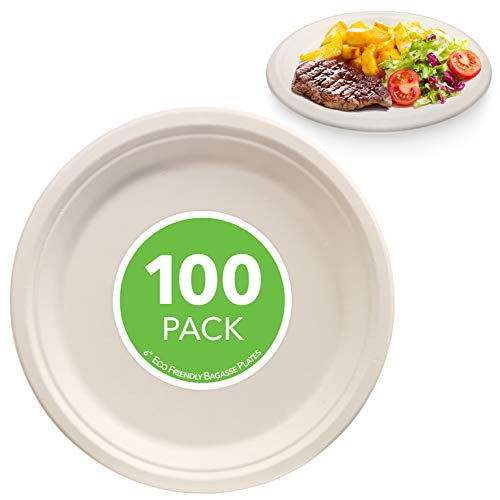 Compostable 6 Inch Paper Plate - 100 Pack - Natural Disposable Bagasse Plate - Eco-Friendly Plate Made of Sugarcane Fiber - 6 Inch Biodegradable Plate