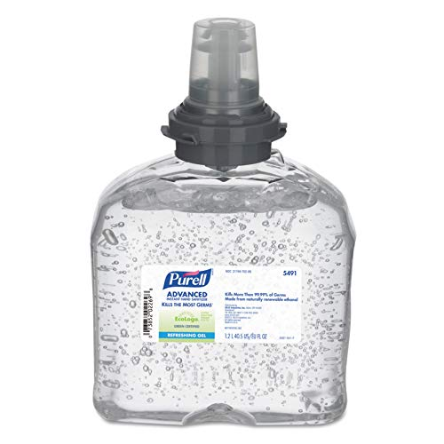 PURELL 549104CT TFX Green Certified Instant Hand Sanitizer Gel Refill, 1250mL, Clear (Case of 4)