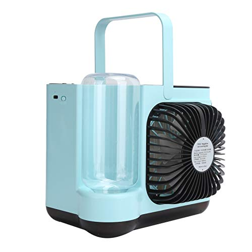 Ventilador de enfriamiento, Enfriador de Aire Gran Angular Tridimensional con múltiples filtros de Cortina de Agua de Alta eficiencia para la purificación del Aire(Azul)