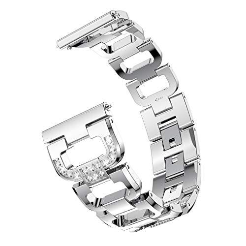 Samsung Gear S3 Classic Armband,Luxuriöses Edelstahl Metall Damen Mädchen Straps Ersatzband Uhrenarmband Armbänder Wristband Schnellspanner Edelstahlkette (Silber)