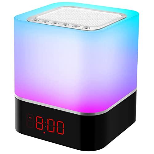 Bluetooth Lautsprecher Wecker, Swonuk 5 in 1 Wiederaufladbar Tragbarer RGB...