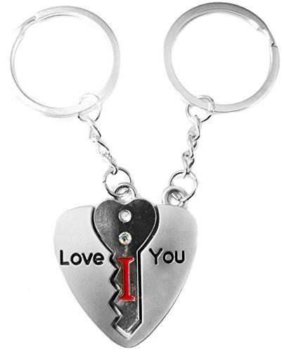 TRIXES Acorazado en Forma de Corazón Regalo de San Valentín para Él o Ella Par de Llaveros Llavero en Forma de Llavero con I y Llavero de Corazón con Love YouTe Amo - La Llave de mi Corazón