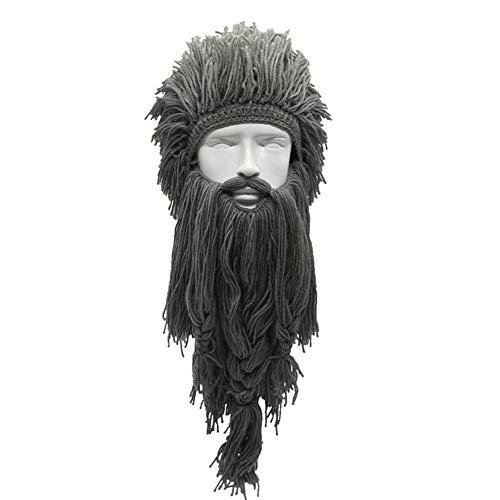 Yvonnelee Kreative Perücke Wikinger Wollmütze Mit Großen Langen Bart halten im Herbst und Winter warm Lustige Skimütze für Wilde