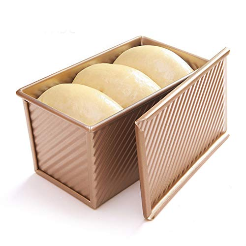 Loaf Pan with Cover, Bread Baking Mould Cake Toast, Non-Stick Aluminum Alloy Toast Box with Lid, Bread Loaf Tins Vented Hole for Rapid Baking