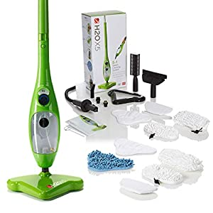 H2O X5 Steam Mop – Kills 99.9% of Bacteria Without Cleaning Chemicals (Green, Super)