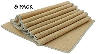 8 PACK - Jute Burlap Placemat with decorative Natural Lace by Linen Clubs