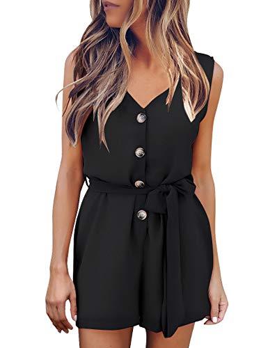 GRAPENT Women's V Neck Sleeveless Button Front Self Tie Romper Jumpsuit Black Size L