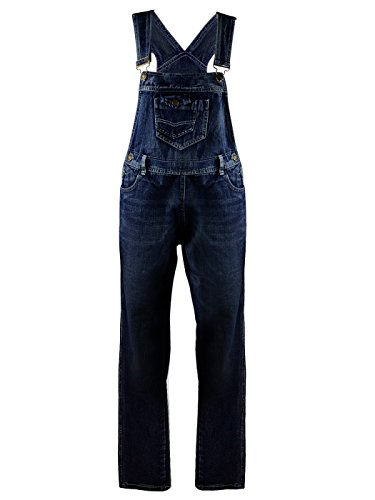 ANNA-KACI Frauen-Denim Blue Jeans Gerades Bein Taschen Latzhose, Indigo Blau, S/M