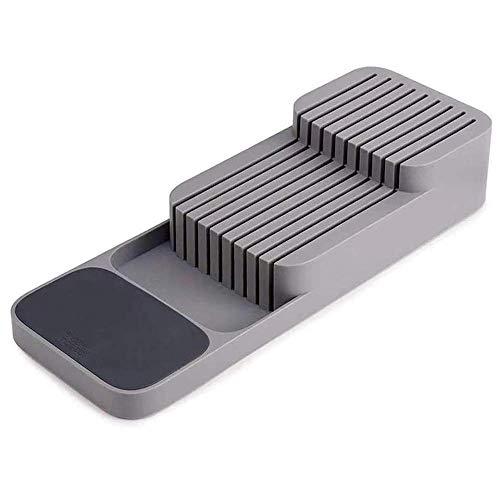 Bloque de cuchillo de cajón, bandeja organizadora de cajón de plástico, soporte universal para cuchillo organizador de cuchillos de cocina (gris)
