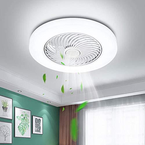 Deckenventilator mit Beleuchtung,36W Invisible Fan Deckenleuchte,LED Fan Deckenleuchte,Einstellbare Windgeschwindigkeit,Ultra-Leise Schlafzimmer Wohnzimmer Lüfter Fan Deckenlampe(Ø52cm) Weiß