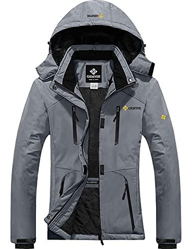 GEMYSE Women's Waterproof Ski Snow Jacket Insulated Winter Windproof Fleece Jacket with Hood (Mid Grey,Large)