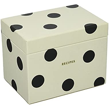 Kate Spade New York Recipe Box, Deco Dot, Black/Crm