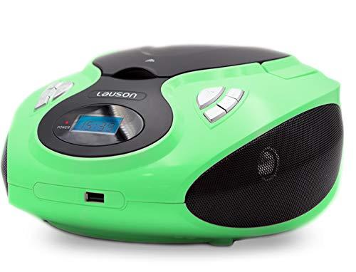 Lauson MX14 Radio FM Sintonizador Pantalla LCD y Reproductor de CD Portátil con USB   Lector USB para Reproducir Música MP3   CD Player con Salida de Auriculares 3.5mm y Altavoces Incorporados (Verde)