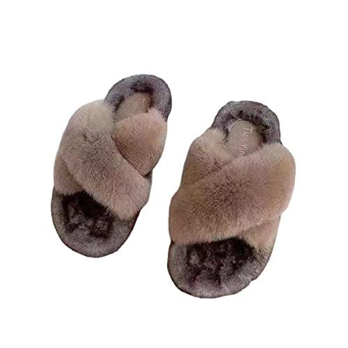 FFAA Chanclas De Mujer Zapatos Holgados De Lana De Color De Contraste De Fondo Grueso Otoño E Invierno-Caqui_35