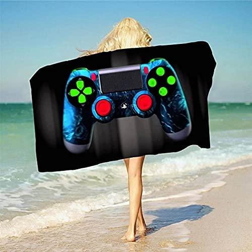 QWAS Toallas de playa de PS5, suaves y esponjosas, toallas de playa de secado rápido, toallas de playa de gran tamaño (A02,90 cm x 180 cm)