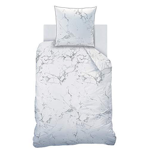 MTOnlinehandel TRAUMHELDEN - Juego de ropa de cama (135 x 200 cm, algodón, aspecto de mármol,...