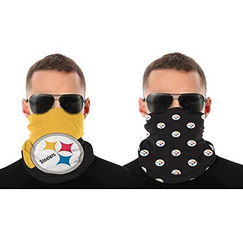 2 Pcs Face Shield Bandanas Neck Gaiter Face Scarf Pittsburgh Steelers 3D Print American Football Team