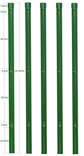 5 Stück Zaunpfosten Ø 34 mm für 1,2 Meter hohe Metallzaun Anlage in grün aus Maschendraht. Pfosten Zaun Pfahl mit Kappe und 3 montierte Spanndrahthalter.