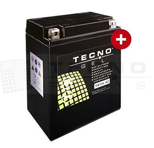 TECNO-GEL Motorrad-Batterie YB14L-A2, 12V Gel-Batterie 14Ah, 134x88x166 mm inkl. Pfand