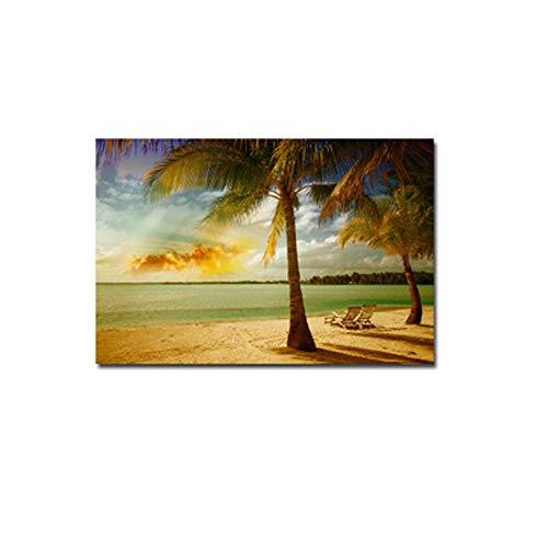 ZHQHYQHHX Inkjet Gemälde Dekorative Malerei Kokosnuss-Baum-Realismus-europäische Art Wohnzimmer-Wand-Gemälde Gemälde Gemälde Porch Gemälde (kein Rahmen) Hängende Malerei (Size : 60 * 90cm)