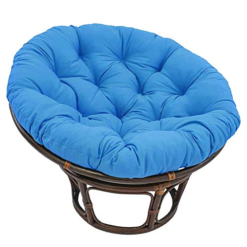 LQQ Hanging Basket Chair Pad Thicken Round Papasan Chair Cushion Waterproof Swing Hanging Seat Mat Patio Nest Seat Cushion Removable,67 X 47 (Color : Blue)