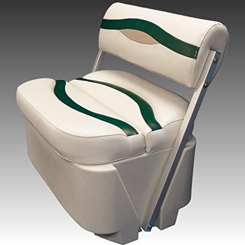 DeckMate Premium Pontoon Flip Flop Seats (Ivory/Green/Tan)